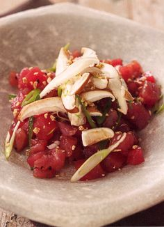 Tuna Tartare with Ginger and Shiitake Mushrooms PER SERVING: 128 cal 2.1g fat 18g protein 10g carbohydrate 26mg cholesterol 2g fiber 415mg sodium