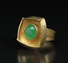 One of a kind jade ring set with 18k and 22k gold by by Alexandra Watkins....A perfect fusion of balance and harmony