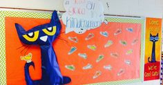 Super Excited about my Pete the Cat back to school bulletin board! Cannot believe back to school parent nights start next week! Where did...
