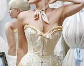 Natalie Ann's Ivory Wedding Corset With White Appliques Custom Size
