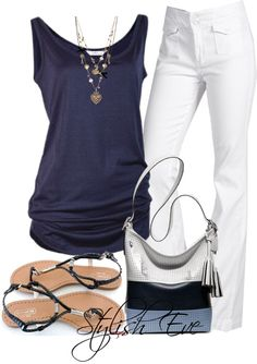 Love this look for spring/summer. White and navy