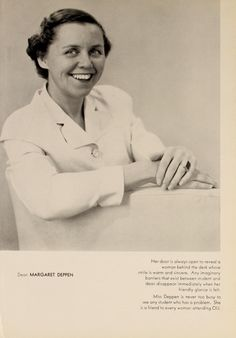 Athena yearbook, 1954. Margaret Deppen became the Dean of Women in 1953.