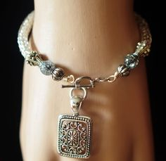 Silver Plated Double Weave Viking Knit Bracelet with Square Pendant $28.00  http://creationsbyjennilee.com