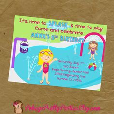 Girls Splash Pad Birthday Party Invitation by PokeysPrettyParties, $5.00 pool splashpad swimming swim water
