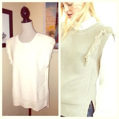 White Fringed Sweater White sweater with fringe on the side. Brand new. Would be a great layering item. Banana Republic Tops