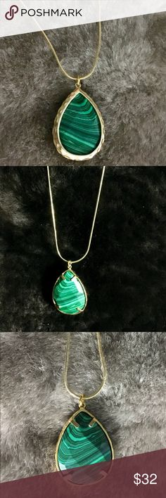 """Malachite Necklace Stunning two-sided Malachite stone necklace. One side is more clean lined.  The other side shows the bezel prongs.  Each side shows off the unique elements of the stone.  Comes with an 18"""" gold plated chain. Beautiful! Jewelry Necklaces"""