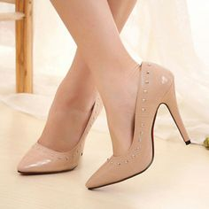 Patent Leather Nude Studded High Heels