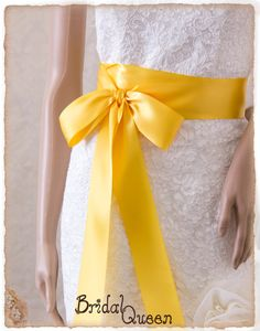 Bridal Sash YELLOW Satin Ribbon Sash Wedding Sash by BridalQueen Wedding Sash, Bridal Sash, Wedding Gowns, Cadbury Purple Wedding, Yellow Wedding, Yellow Theme, Blue Yellow, Pearl Brooch, Ribbon Colors