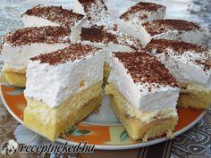 Hozzávalók: 8 tojás 8 kanál cukor 8 kanál liszt 2 nagy szem alma 1 vaníliás puding 20 dkg cukor 4 dl tej 25 dkg margarin fél liter Hulala habtejszín fahéj