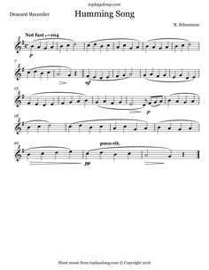 Schumann - Humming Song | Free sheet music for recorder | toplayalong.com