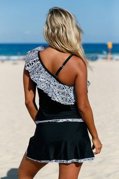 Tribal Geometry Ruffle One Shoulder Tankini Swimsuit With Skirts MB410201-1 – ModeShe.com #Tankinis
