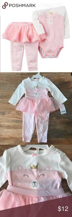 Carter's  Bodysuit and Tulle Tutu Legging Set NWT. Carter's 2-piece Pink/white bear printed bodysuit and tulle tutu skirted legging set. Carter's Matching Sets
