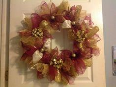 Burgundy/gold deco mesh wreath