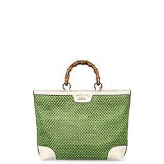 Gucci Green Mesh & Leather Bamboo Shopper Tote Bag