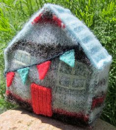 Wool Cottage Bunting Upcycled by the Maine Seashore / Soft Sculpture / Hand-stitched Recycled Sweaters / House Décor