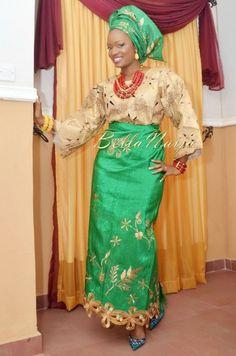 Photography by Kunle for Klala Photography Makeup by Beauty Cook Studio Nigerian Wedding Makeup green aso oke gele beads naija bride yoruba fila agbada