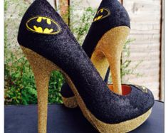 Batman shoes with gold glitter heels