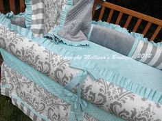 Custom White Gray & Tiffany Blue/Aqua 4Piece by mellissasboutique, $449.99