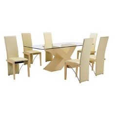 The striking portion of this set is its table with #ClearGlassTop and a simply modish stand. The set is completed with six #DiningChairs in #Beech. Their structure is durable and design is up to the mark.Dining table and chairs