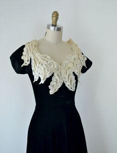 "1940s Dress / 40s Black Velvet Dress / Claudia Young. $135.00, via Etsy. - fancy, ""dressy"", dinner/party."