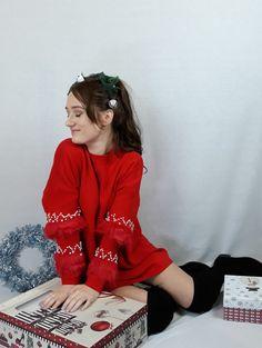 www.pinkblackheart.com Red Christmas Jumper, Christmas Jumpers, Pink Christmas, Christmas Sweaters, Red Jumper, Online Fashion Stores, Black Heart, Jacket Dress, Pink Black