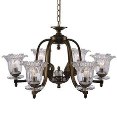 QIRUI Luxury Retro Iron Chandelier Fixture,6 Lamp Sockets E14 With Lampshade,Ceiling Lighting Holder With Transformer Input AC110-240V,Decoration for Home Hotel Hall Restaurant 8675-6