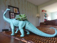10 Last-Minute DIY Gifts (including this plastic dinosaur planter : )