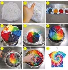Learn how to make over tie dye techniques from hearts to ombre to spiral to spider, learn how to make your own custom t-shirt! Fête Tie Dye, Tie Dye Party, How To Tie Dye, Tie Die Shirts, Diy Tie Dye Shirts, Diy Shirt, Tie Dye Folding Techniques, Ty Dye, Textile Dyeing