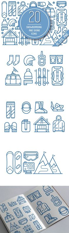 Snowboarding and Skiing Line Icons.. Clothes Icons. $5.00
