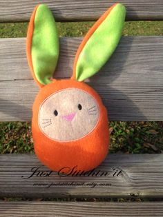 Orange with green ears  Egg Bunny Stuffy by JustStitchinIt on Etsy, $12.00