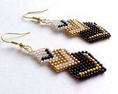 Boucles d'oreilles 3 losanges en perles de verre japonaises Miyuki Blanc, Doré, Noir