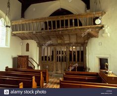 Late 15th century, carved and painted, wooden rood screen and loft inside St Eilian's church. - CF5F2X from Alamy's library of millions of high resolution stock photos, illustrations and vectors.