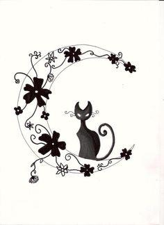 Chat, fleurs et lune................. www.photo-tatouage.com