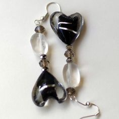 Black Silver Hearts Dangle Goth Earrings/ Art Glass by ALFAdesigns, $12.99