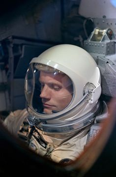 Astronaut Neil A. Armstrong readies for his dramatic 1966 Gemini 8 flight. Photo Credit: NASA
