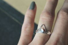 Lunar Rainbow moonstone gemstone stack ring
