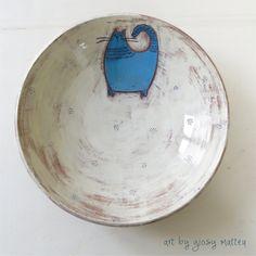giosy matteu - ceramic bowl, earthenware, engobe and glaze, wheel throwing pottery