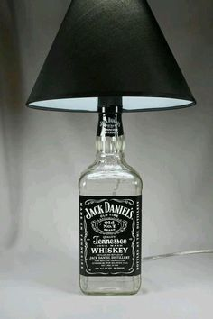Recycle. Jack Daniels bottle turned into a functioning lamp.