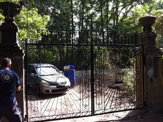 Gate fabricated from reclaimed and new steel Johns Island, SC Frederick Doran Johns Island, Gate, Home Appliances, Steel, Design, House Appliances, Portal, Appliances