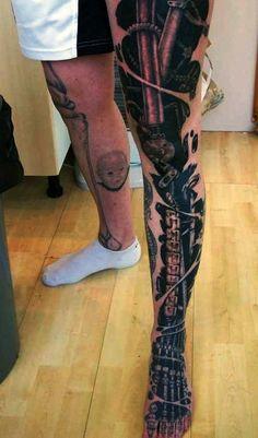 Mechanic Men's Full Leg Sleeve Tattoo Cyborg Tattoo, Robot Tattoo, Biomechanical Tattoo, Fake Tattoo Sleeves, Leg Sleeve Tattoo, Leg Tattoo Men, Full Leg Tattoos, Full Sleeve Tattoos, Arm Tattoos
