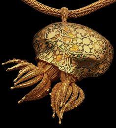 John Paul Miller gold, enamel cephalopod pendant.