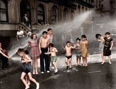 This wonderful colorized image from 1937 shows a group of children cooling off during the dog days of summer in New York. Summer on the Lower East Side, 1937 Source: Jared Enos Colorful Pictures, Old Pictures, Old Photos, Lower East Side, Nova, Colorized Photos, Historical Pictures, New York City, Around The Worlds