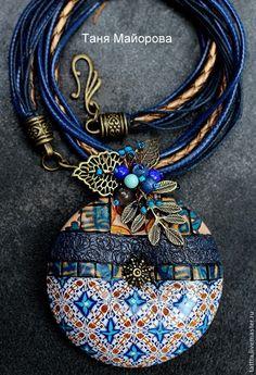 кулон из полимерной глины волшебный 3 - темно-синий,кулон,круный кулон