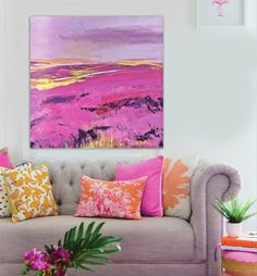 Find More Painting & Calligraphy Information about Modern abstract painted pink prairie landscape painting the living room office bedroom wall art canvas,High Quality canvas 3,China canvas tree art Suppliers, Cheap canvas art discount from WHAT ART on Aliexpress.com