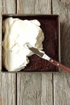 """Chocolate Three Milk Cake (recipe) - """"I realise that this is technically a four milk cake with the addition of buttermilk in the batter, but I didn't want to confuse the issue, split hairs, gild the lily, or discombobulate you in any way. Köstliche Desserts, Delicious Desserts, Yummy Food, Sweet Recipes, Cake Recipes, Dessert Recipes, Three Milk Cake, Yummy Treats, Sweet Treats"""