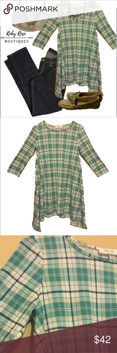 🌻🌿HP {Wardrobe Goals Party} 🌿🌻Plaid Mint Top Lovely mint-colored plaid. Flowy and comes to below waist, mid-bottom. This is perfect to pair with some basic loafers and jeans. Dress it up with a trendy necklace. This top is true to size (small fits size 6-8). Comfy and soft. Peach Love California boutique brand. Only one available. We love reasonable offers and bundles, but are unable to trade at this time. ~{We are ALL beautiful.}~ Tops