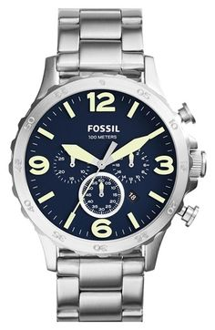 Fossil 'Nate' Chronograph Bracelet Watch, 50mm (Nordstrom Online Exclusive)