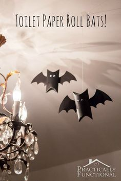 Use your old toilet paper rolls to create bats for Halloween. You can even put candy inside for trick or treaters!