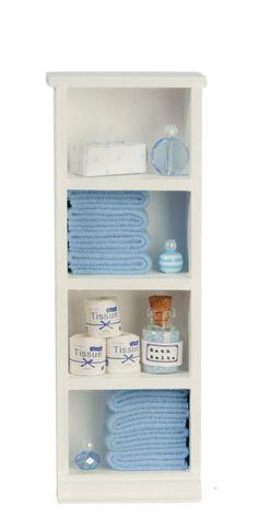 Dolls House Narrow Shelf Unit Blue Towels & Accessories Bathroom Furniture Dolls House Narrow S Barbie House Furniture, Doll Furniture, Bathroom Furniture, Furniture Plans, Diy Dollhouse Furniture Easy, Cheap Furniture, Barbie Bathroom, Laundry In Bathroom, Mini Doll House
