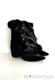 59c7a3cf4398 Cinderella  Black Vintage Edwardian Fur and Velvet Carriage Boots from  ReInvintage.  265.00. Vintage